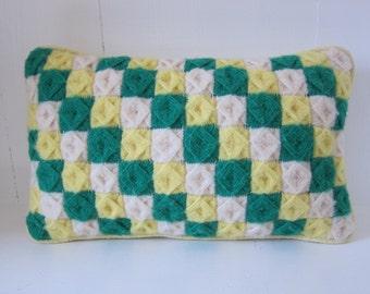 Vintage Pillow Ojos de Dios Patchwork Green/Yellow