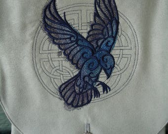 Celtic Raven Embroidered Belt Pouch / Festival Pouch / Hip Pouch