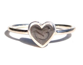 Simple Band Cremation Ring with 5mm Heart Setting - Sterling Silver Pet Cremation Jewelry