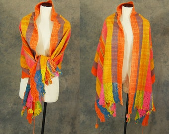 vintage 60s Mexican Shawl - 1960s Mexican Rebozo Huge Rainbow Plaid Wool Shawl Ethnic Fringe Wrap Scarf Sz S M L
