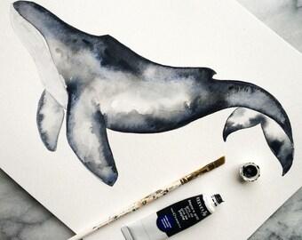 WHALE ART Print 8x10 // WATERCOLOR Payne's Gray Blue Nautical Sea Ocean Marine