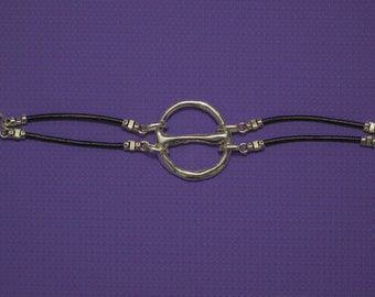Black Leather and Sterling Silver Theta Bracelet