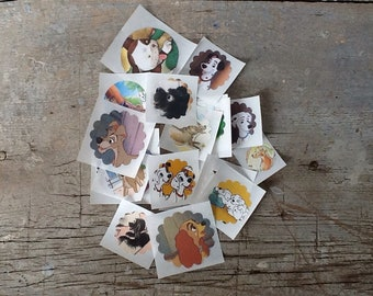 set of 18 dog stickers from vintage children's books