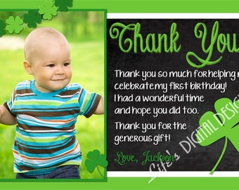 St. Patrick's Day Birthday Thank You Card Shamrock Thank You Card Chalkboard Green Photo Option Customizable Printable