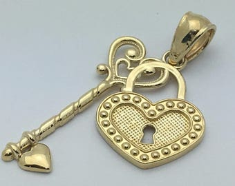 14Kt Yellow Gold Heart Lock with Key to my Heart Charm Pendant