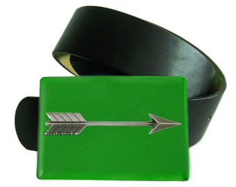 Arrow Belt Buckle Green Hand Painted Enamel Inspired Snap Belts  with Custom Colors Available