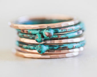 Stacking Rings / Stackable Rings / Mint Stacking Ring / Rose Gold Stackable / Nugget Rings / Stack Rings / Winter 2017