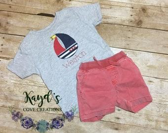 Boy Sail Boat Shirt - Boat Shirt for Boy - Custom Boy Clothes - Personalized Sail Boat Shirt - Summer Vacation Shirt - Beach Shirt for Boy
