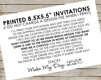 "Printed Invitations (Most designs in this shop) ~ Large invitations ~ 8.5x5.5"" invitations"