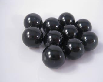 10mm Mystic Black Round Swarovski Crystal Pearl Beads (Package of 6)