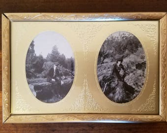 Set of 3 Mountain Couple, Daisy Ladies and Fieldworkers 3 Brass Framed Photographs 1900s - 1940s