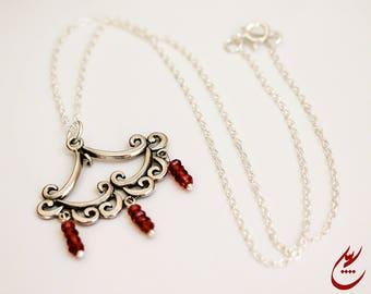 Faceted Garnet Gemstones Pendant, Sterling Silver Chandelier Pendant, Garnet Necklace, Sterling Silver Chain Necklace,