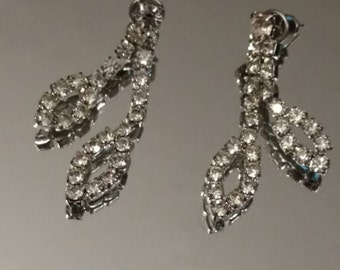 Glamorous Rhinestone Earrings, Dangle, Romantic, Navette, Posts, Vintage, Silver Tone