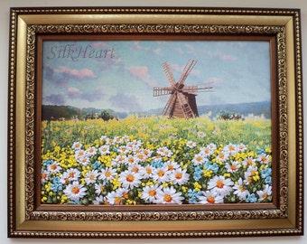 Traditional Windmill among the Ukrainian Field Daisies