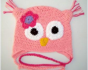 Girls pink owl hat . Crochet hat in 100 % cotton . Happy Owl. Cute hat