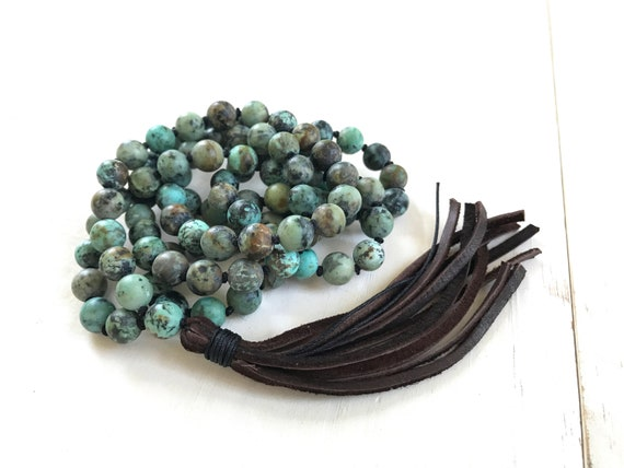 Mala For Positive Change, Buddha Mala Beads, Mala Necklace With Leather Tassel, African Turquoise 108 Bead Mala, Yoga Mala Beads