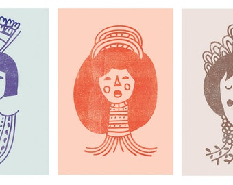 Collection of Three Prints I Women with Ornaments - Different Sizes