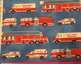 Ambulance, EMS, Fire Engine, Fire Truck, Fire Fighter fabric Michael Miller HTF, Sold by the 1/2 yard