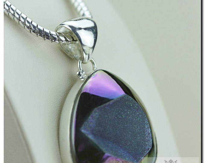 Midnight Titanium Window Drusy Druzy 925 SOLID Sterling Silver Pendant + 4mm Snake Chain & FREE Worldwide Shipping p1326