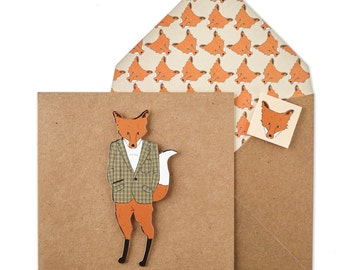 Tweed Fox - Blank Personalised Card
