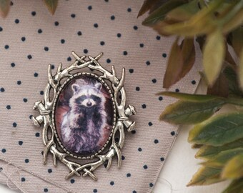 Raccoon Brooch Pin Animal Brooch Photo Raccoon Jewelry Cameo Oval Brooch Raccoon Pin Jacket Broch Woodland Raccoon Lover Gift for Mother