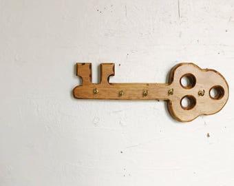 Vintage wood key holder, wall hanging wooden key hook