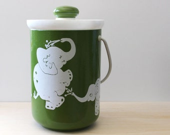 Dancing Elephants. Vintage Kromex ice bucket.