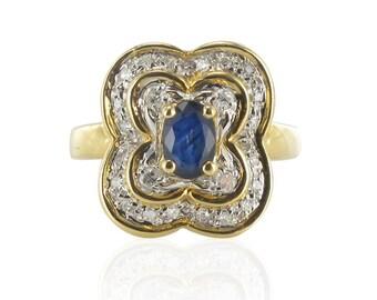 Bague or jaune saphir diamants
