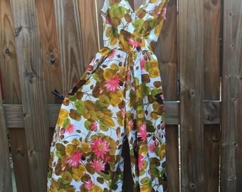 1960s Wide Leg Jumpsuit // Vintage Jumpsuit // Floral Jumpsuit // Cotton Jumpsuit