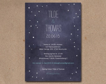 Rustic wedding invitation with cute hand drawn stars on a chalkboard background.