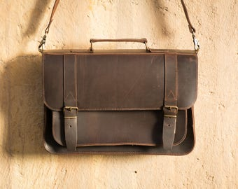 Mens messenger leather bag Leather Satchel  Leather briefcase laptop Bag  Leather school bag  FREE SHIPPING!