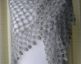 GLAMOUR in Platinum: Shimmering Crochet SHAWL Wrap / Feminine Gift