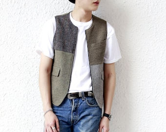 Remade Vintage Harris Tweed Vest