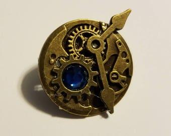 Steampunk Ravenclaw Bronze Swarovski Clockwork Pin
