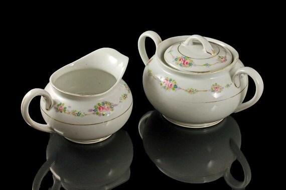 Antique Sugar Bowl and Creamer, Noritake Nippon, N169, Pink Rose pattern, Gold Trimmed