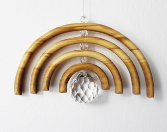 Rainbow with lead Crystals large   Wooden Decoration