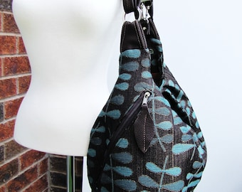 Extra large Diaper Bag, 3 way convertible backpack messenger and shoulder bag, Turquoise Brown Bag, Canvas Leather Bag,
