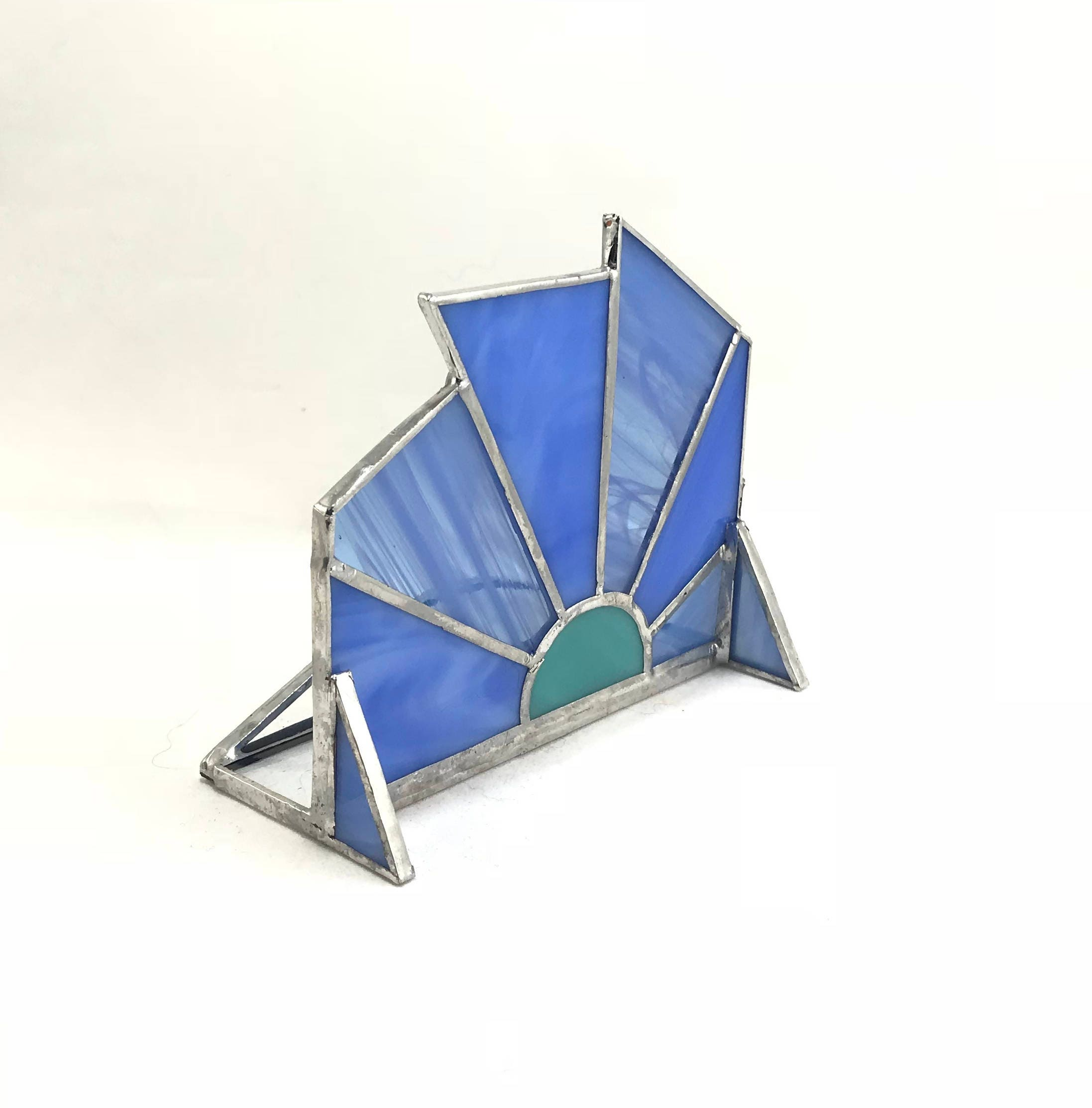 Stained Glass Phone Stand Business Card Holder Blue Pinwheel - holds ...