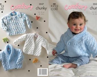 King Cole comfort chunky knitting pattern no 3047 baby jacket, cardigan, sweater