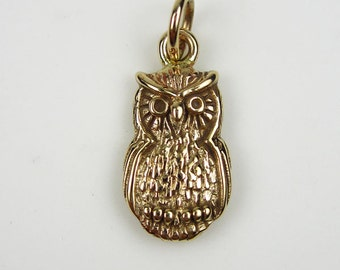 Natural Bronze Small Owl Charm