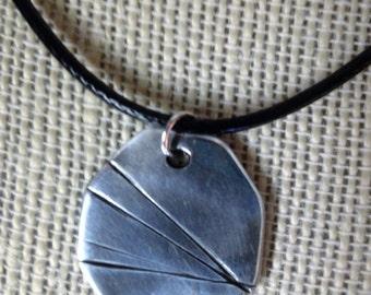 99.9% Fine Silver pendant, Geometric pendant, Rustic necklace, Unisex pendant, minimalist pendant, Ready to ship