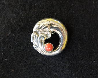 Georg Jensen fish brooch with coral