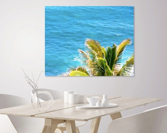 Turquoise Blue Ocean Print + Green Palm Tree Print | Beach Photography | Large Beach Ocean Wall Art Home Decor | Tropical Wall Art Print
