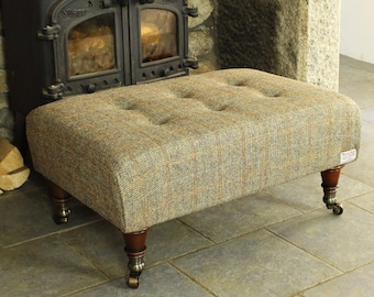 Harris Tweed Footstool - Jura Bracken Herringbone|Medium Footstool| Footstool| Tweed Footstool| Ottoman| Buttoned Footstool| Coffee table