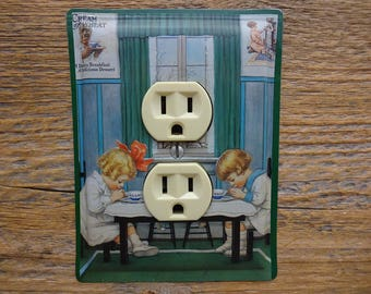 Country Kitchen Decor Outlet Cover Made From A Cream Of Wheat Cereal Tin Vintage Tins Outlet Covers Traditional OLC-1030
