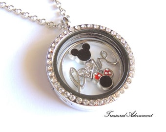 READY TO SHIP, Floating Locket Necklace, Love Disney Necklace, Mickey and Minnie, Gift for Mom, Mother's day gift, Gift for Disney Lover
