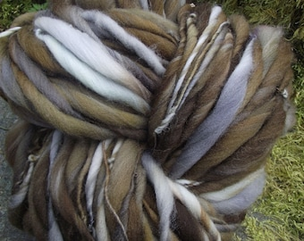 Handspun art  yarn, handpainted Organic Polwarth wool yarn super bulky  thick and thin -BARRED OWL