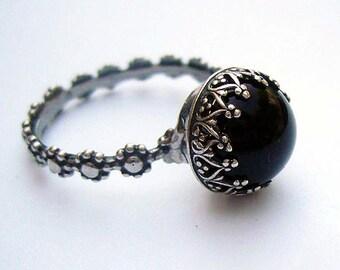 Black Onyx Sterling Silver Ring , Round Black Stone Ring, Israeli Jewelry, Black Solitaire Ring, Bezel Setting, Black Onyx Stone