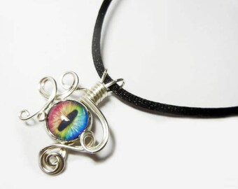 Wire Wrap Handmade Rainbow Spectrum Glass Evil Dragon Eye Pendant with Necklace