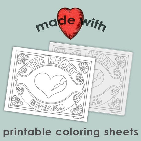 The Heart Set of 2 valentine\'s day printable coloring